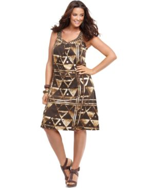 J Jones New York Plus Size Dress, Sleeveless Printed Embellished Scoopneck - Clothes