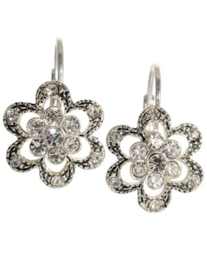 Betsey Johnson Earrings, Crystal Flower