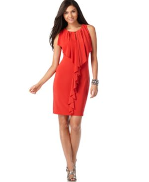 Nine West Dress, Sleeveless Ruffle Front