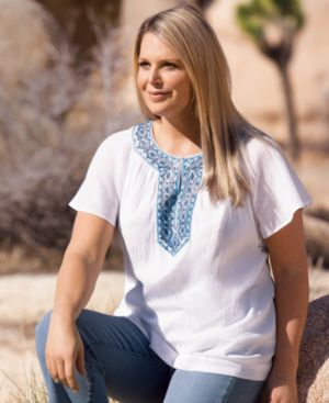 Charter Club Plus Size Top, Short Sleeve Embroidered Crinkle Gauze Peasant - Tops