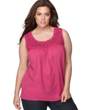 Charter Club Plus Size Top, Sleeveless Embellished Tank - Tops