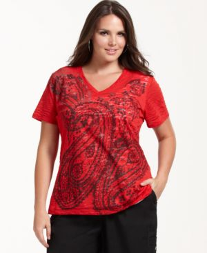 Style&co. Plus Size Top, Short Sleeve Printed V-Neck