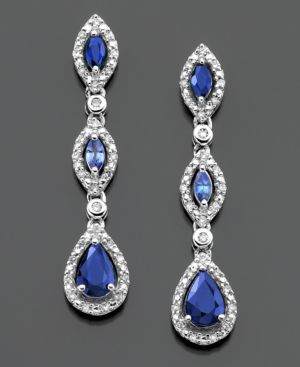 14k White Gold Earrings, Sapphire (1-1/2 ct. t.w.) and Diamond (1/5 ct. t.w.)