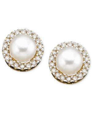 10k Gold Earrings, Cultured Freshwater Pearl and Diamond Accent