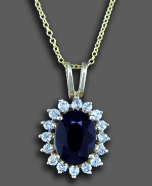 14k Gold Pendant, Sapphire (1-9/10 ct. t.w.) and Diamond (3/8 ct. t.w.)