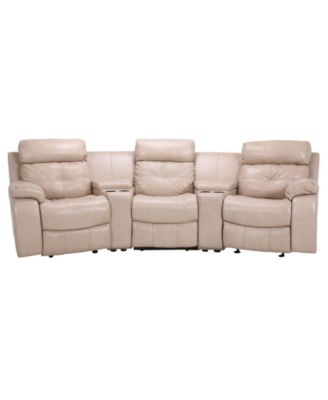 Justin Leather Sectional with Vinyl Sides & Back Recliner Chairs ...