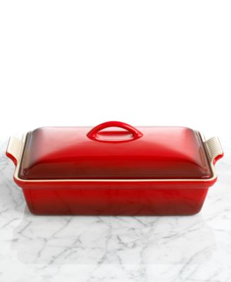 Le Creuset Covered Rectangular Baker, 12 x 9 Heritage Stoneware Baking Dish