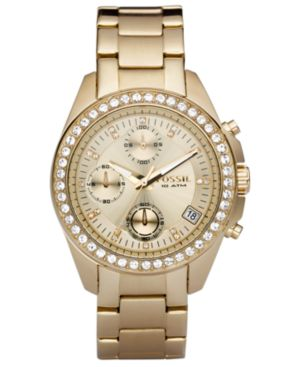 Fossil Women's Decker Gold-Tone Stainless Steel Bracelet Watch 38mm ES2683