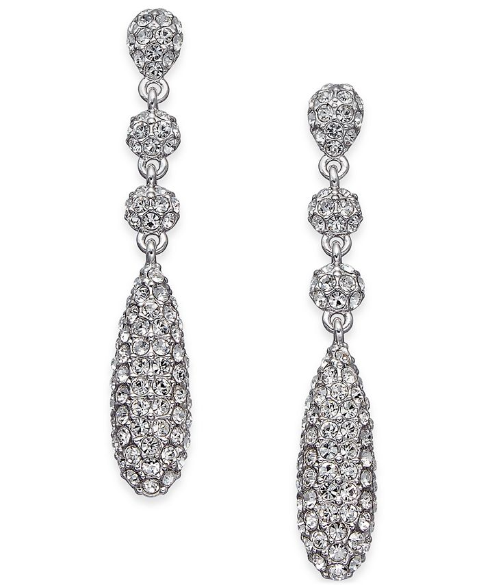 Eliot Danori - Silver-Tone Pavé Crystal Drop Earrings