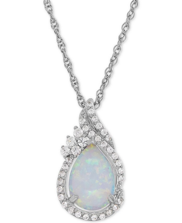 Macy's - Lab-Created Opal (3/4 ct. t.w.) and White Sapphire (1/4 ct. t.w.) Teardrop Pendant Necklace in Sterling Silver