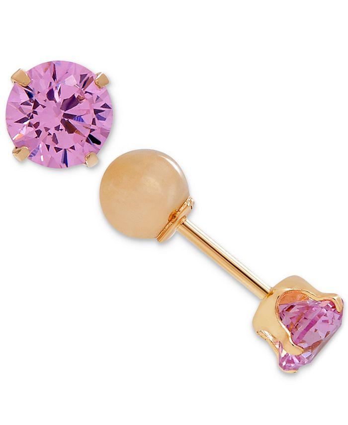 Macy's - Children's Cubic Zirconia October Birthday Reversible Earrings in 14k Gold