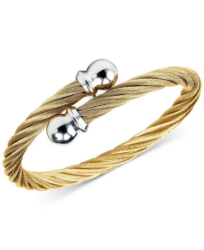 CHARRIOL - Twisted Cable Bypass Bracelet in Gold-Plated Stainless Steel