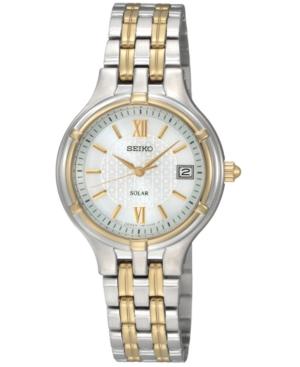 Seiko Watch, Women's Solar Two Tone Bracelet 28mm SUT020