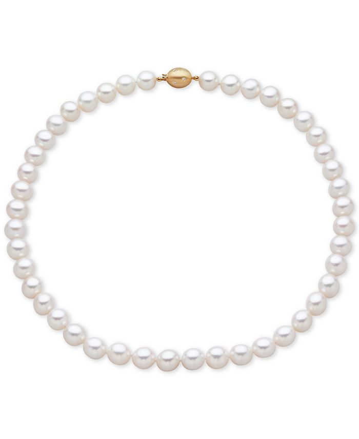 Honora - Cultured Freshwater Pearl (9-1/2mm) and Diamond Accent Collar Necklace