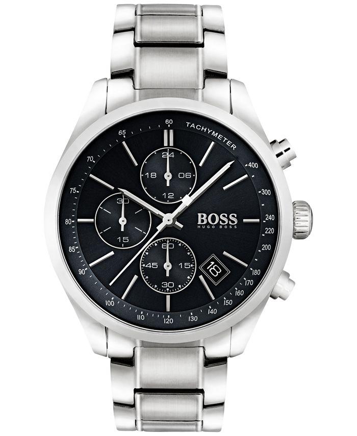 BOSS - Men's Chronograph Grand Prix Stainless Steel Bracelet Watch 44mm 1513477