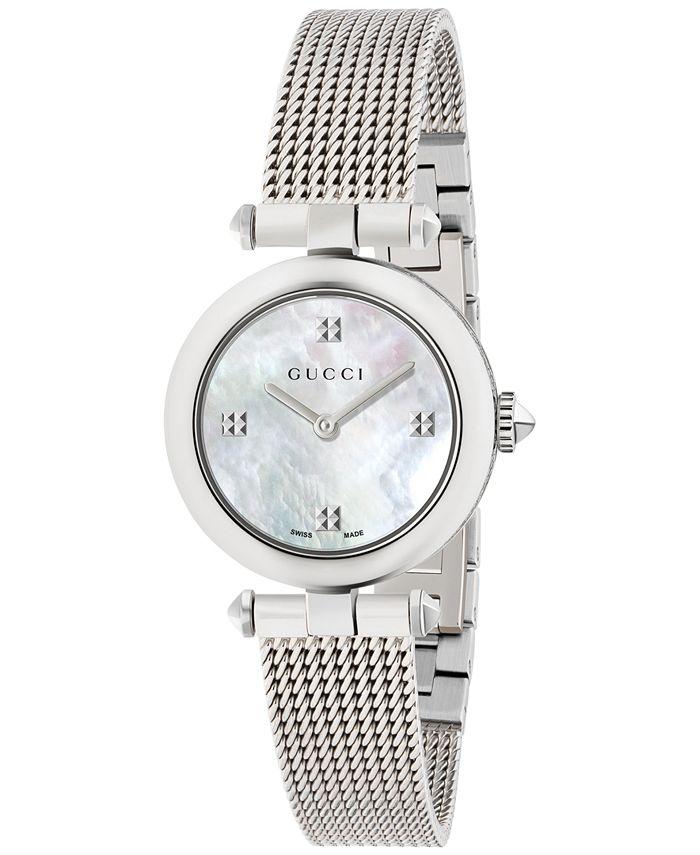 Gucci - Women's Swiss Diamantissima Stainless Steel Mesh Bracelet Watch 27mm YA141504