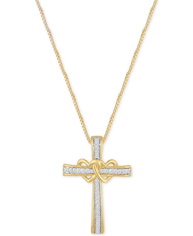 Macy's Diamond Double Heart Cross Pendant Necklace (1/10 ct. t.w.) in 14k Gold-Plated Sterling Silver