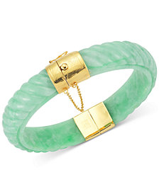 Dyed Jade  Bangle Bracelet in 14k Gold over Sterling Silver in Green, Red or black