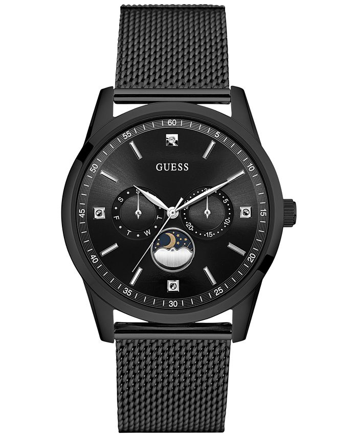 GUESS - Men's Traditional Moonphase Black Stainless Steel Mesh Bracelet Watch 42mm U0869G1