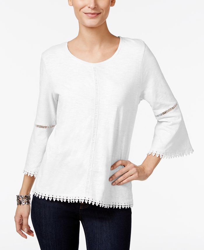Style & Co - Crochet-Trim Bell-Sleeve Top