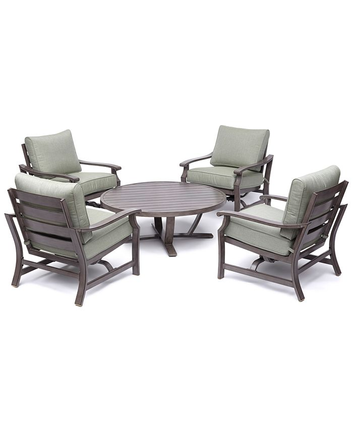 "Furniture - Tara Aluminum Outdoor 5-Pc. Seating Set (48"" Round Table & 4 Rocker Chairs)"