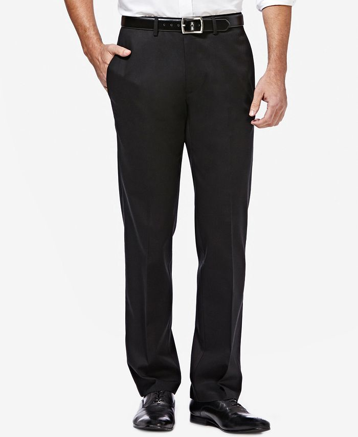 Haggar - Men's Premium Straight-Fit Non-Iron Stretch Flat-Front Pants