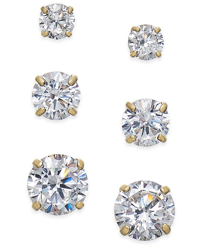 Macy's - Cubic Zirconia 3-Pc. Set Graduated Stud Earrings in 14k Gold or 14k White gold