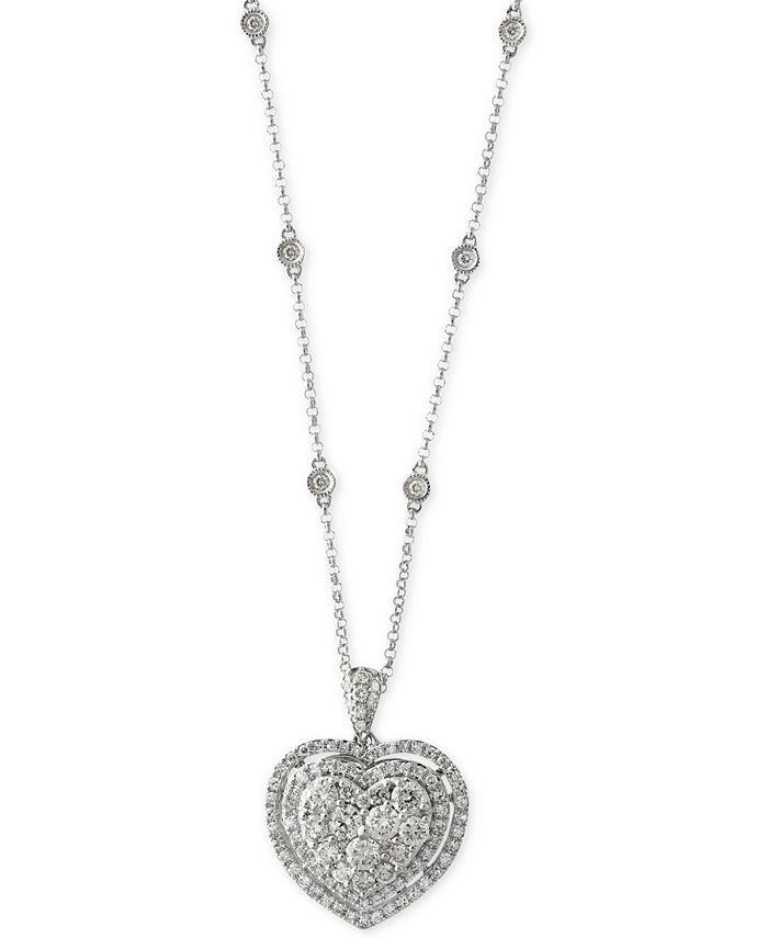 EFFY Collection - Diamond Heart Pendant Necklace (1-1/8 ct. t.w.) in 14k White Gold
