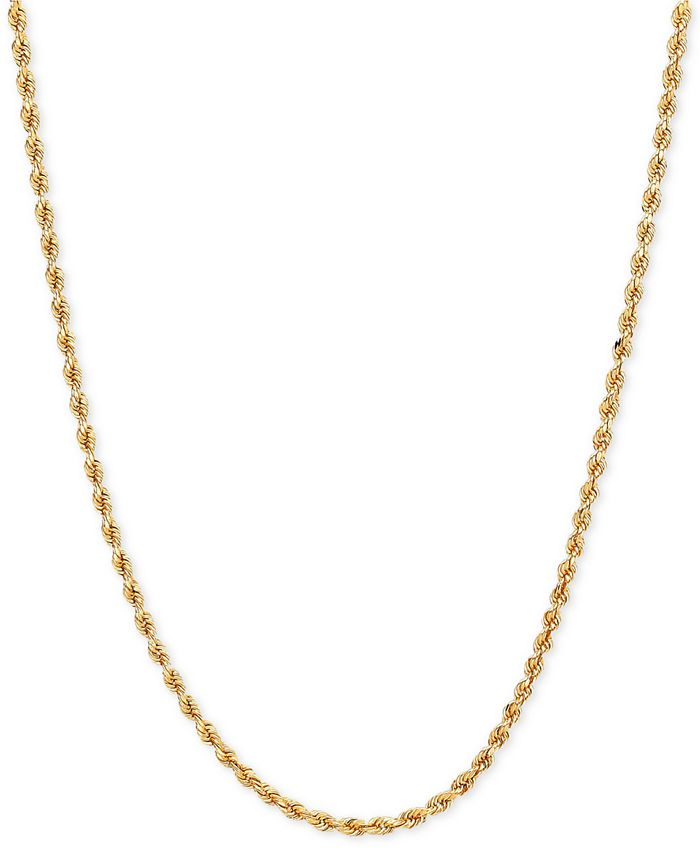 Macy's - Long Polished Diamond Cut Rope Chain Necklace in 14k Gold