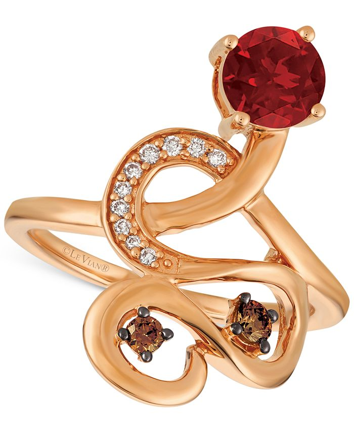 Le Vian - Raspberry Rhodolite® (9/10 ct. t.w.) and Diamond (1/6 ct. t.w.) Ring in 14k Rose Gold