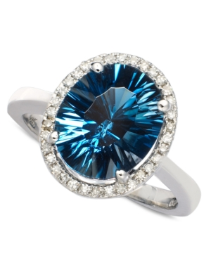 14k White Gold Ring, London Blue Topaz (4 ct. t.w.) and Diamond (1/8 ct. t.w.) Oval Ring