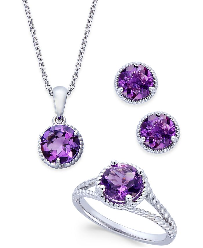 "Macy's - Designed in sterling silver, the set includes a stunning pendant necklace, a beautiful stud earrings and a matching ring. Approximate length of pendant necklace: 16"" + 2"" extender. Approximate drop of"