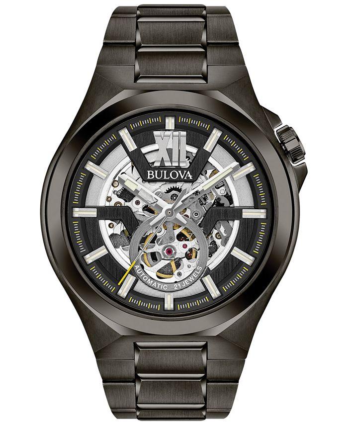 Bulova - Men's Automatic Gunmetal Stainless Steel Bracelet Watch 46mm 98A179
