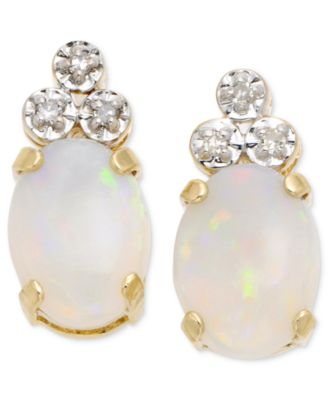 10k Gold Opal & Diamond Earrings