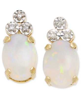 14k Gold Opal & Diamond Earrings