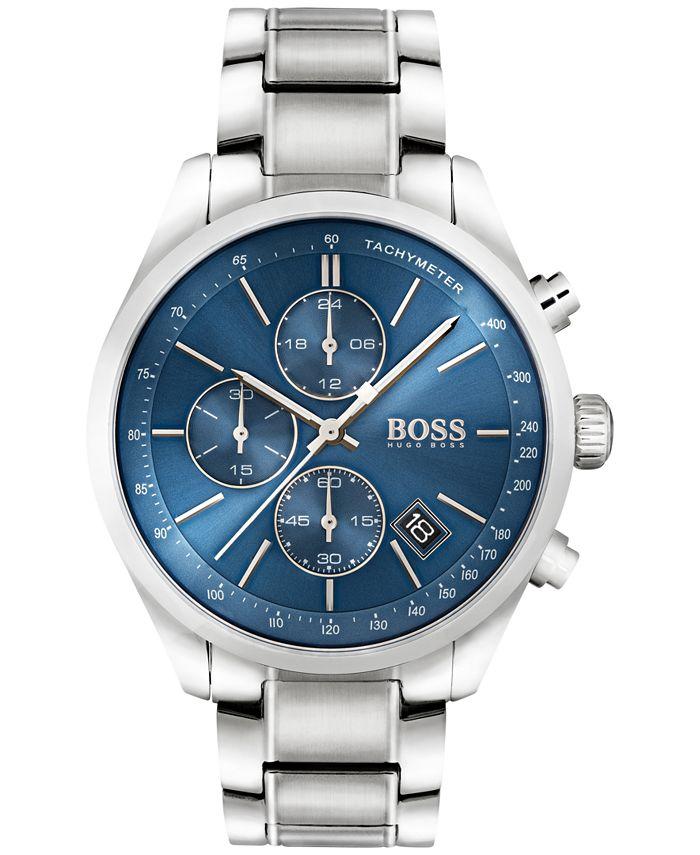 BOSS - Men's Chronograph Grand Prix Stainless Steel Bracelet Watch 44mm 1513478