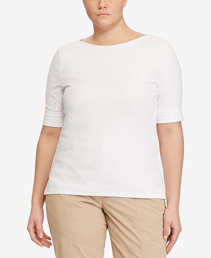 Lauren Ralph Lauren - Plus Size Slim-Fit Bateau-Neck T-Shirt