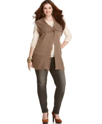 American Rag Plus Size Sweater, Single Button Vest