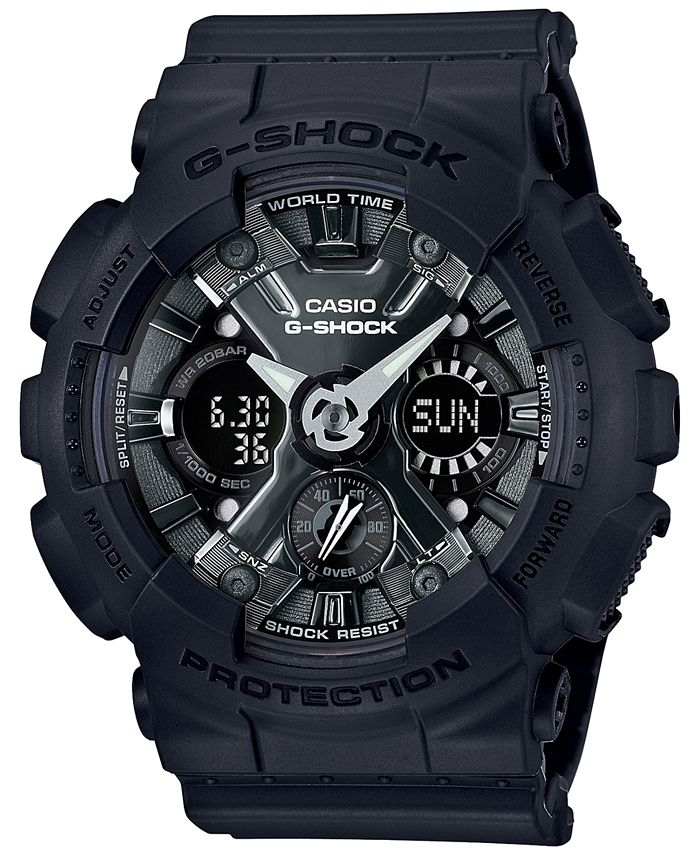 G-Shock - Women's Analog-Digital Black Resin Strap Watch 46mm GMAS120MF-1A