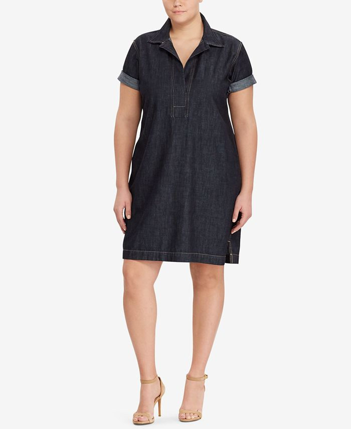 Lauren Ralph Lauren - Plus Size Cotton Denim Shift Dress