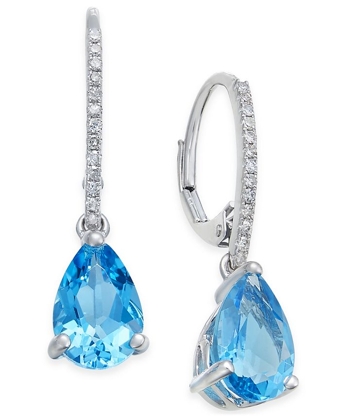 Macy's - Blue Topaz (3-3/4 ct. t.w.) and Diamond Accent Drop Earrings in 14k White Gold