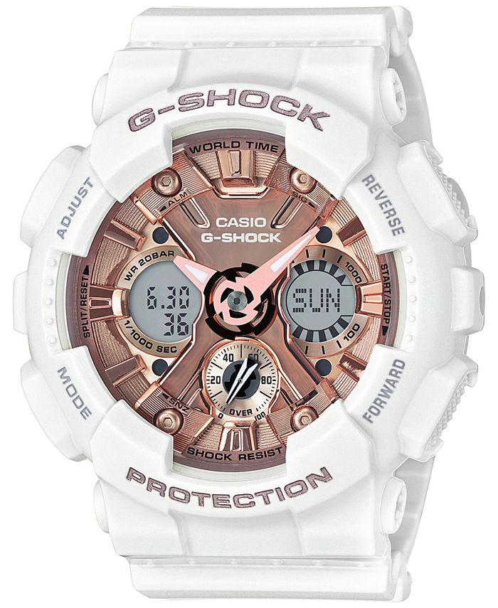 G-Shock - Women's S Series Analog-Digital White and Rose Gold-Tone Watch 46mm GMAS120MF-2A