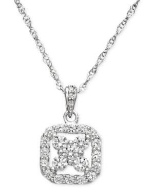 Diamond Necklace, 14k White Gold Diamond Certified Near Colorless Square Pendant (1/2 ct. t.w.)