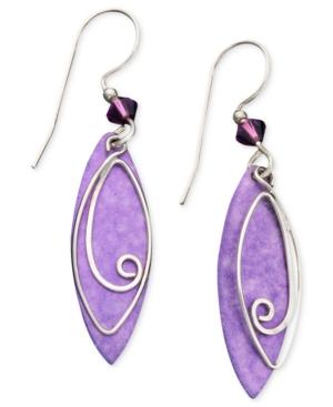 Jody Coyote Sterling Silver Earrings, Purple Leaf Drop Earrings