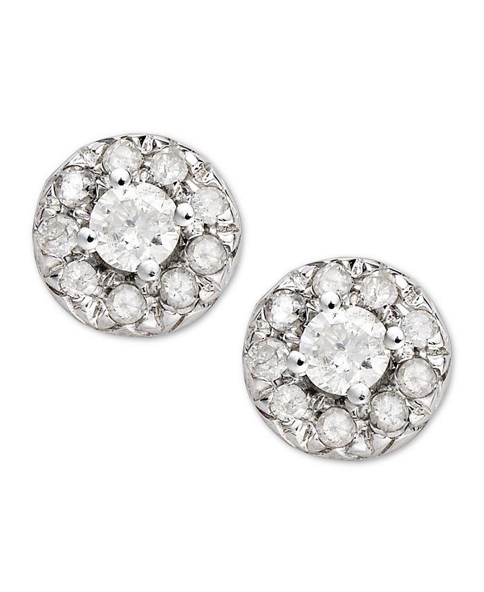 Macy's - Diamond Round Stud Earrings in 14k White Gold (1/4 ct. t.w)