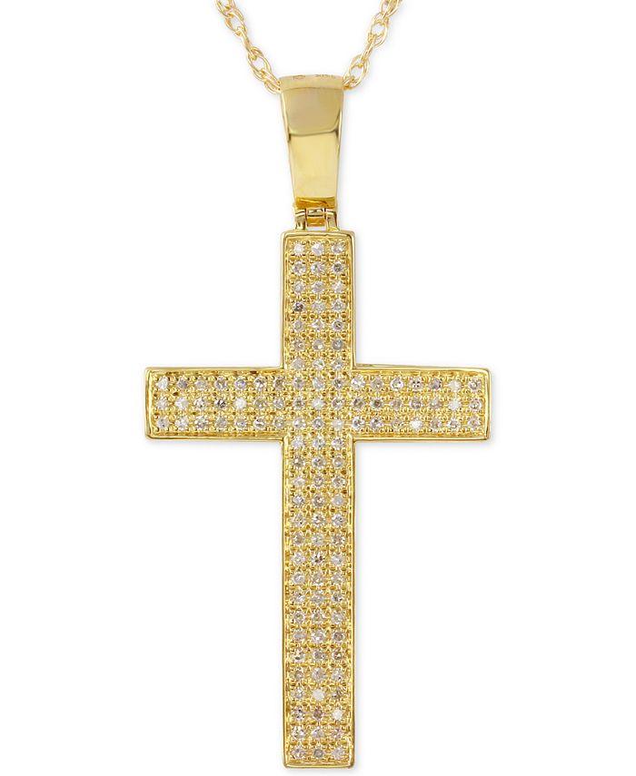 Macy's - Men's Diamond Geometric Cross Pendant Necklace (1/2 ct. t.w.) in 10k Gold