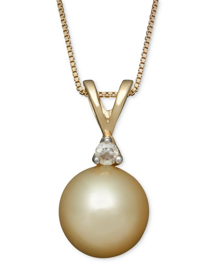 Belle de Mer - Golden South Sea Pearl (8mm) and Diamond Accent Pendant Necklace in 14k Gold