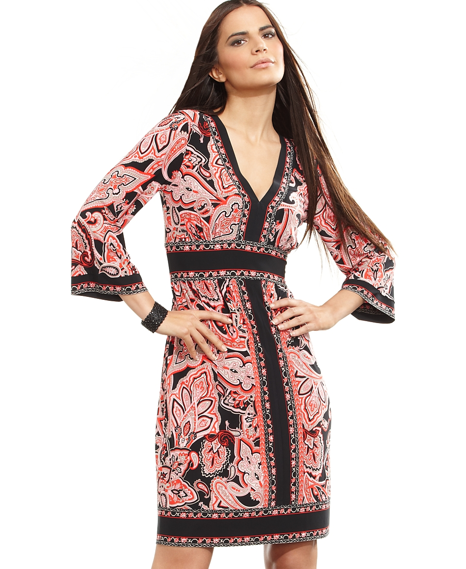 International Concepts Dress, Three Quarter Bell Sleeve Paisley Print