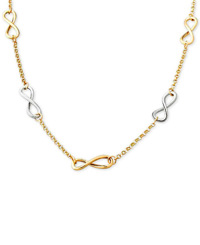 Italian Gold - Two-Tone Infinity Link Collar Necklace in 14k Gold and White Gold