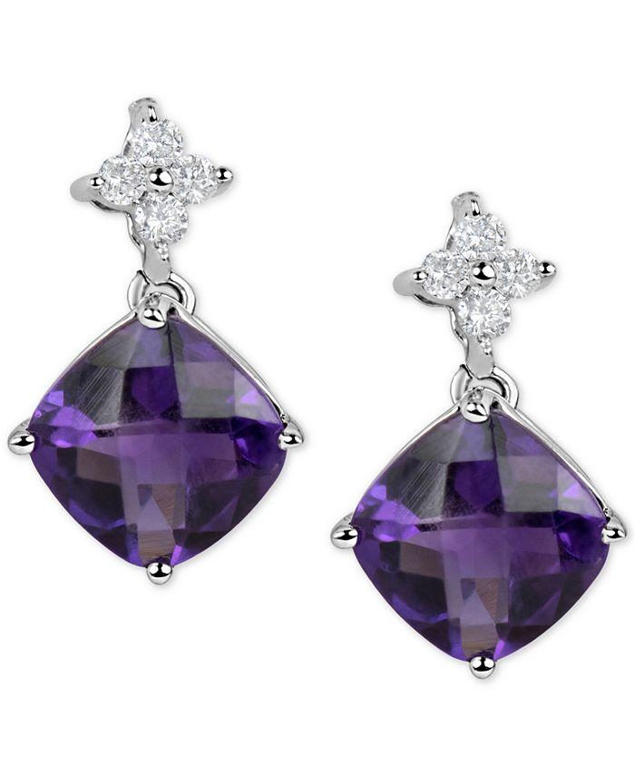 Macy's - Amethyst (4-1/2 ct. t.w.) & Diamond (1/5 ct. t.w.) Drop Earrings in 14k White Gold